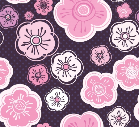 execute: Decorative vector background. Seamless inlay of flowers. Illustration