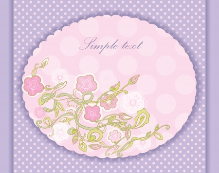 Greeting Card in a lavender color. picture of flowers. Vector