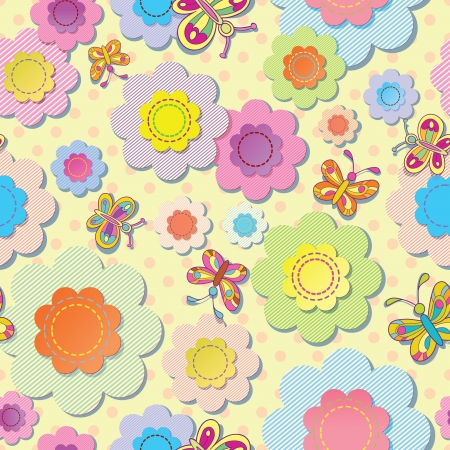 gaudy: vector seamless colorful background  Application of flowers and butterflies  Sewing thread