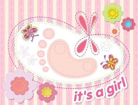 vector background with congratulations on the birth of a girl.