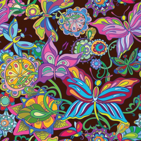 batik: Seamless vector background. Flying butterfly and fairy flowers. Bright decor on a dark background.