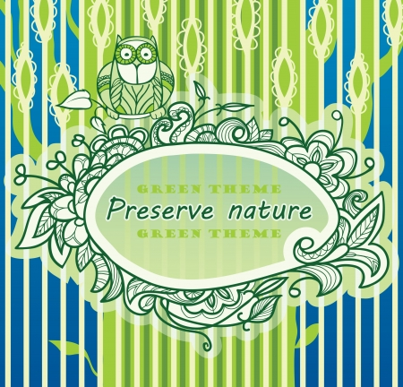 frame is painted on the background of a stylized green tree  The plant decor  Illustration