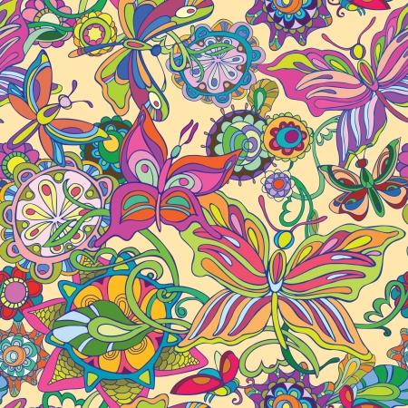 batik: Vol Seamless du papillon et un champ de fleurs aux couleurs vives du décor avec un fond clair Illustration