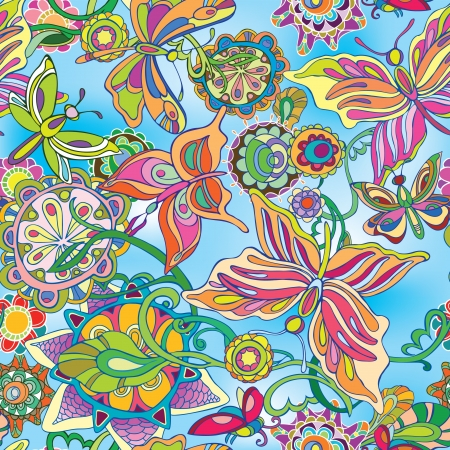 Decorative flowers and butterflies flying against the blue sky drawing