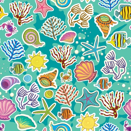 bottom of sea: Seamless sea background  The decor of the sea creatures and seaweed  Symbol of summer vacation