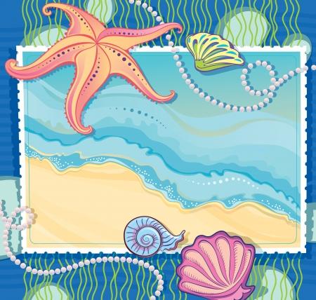 caracolas de mar: Vector marco con una foto de una ola de mar Elaboración de estrellas de mar, conchas y collares de perlas