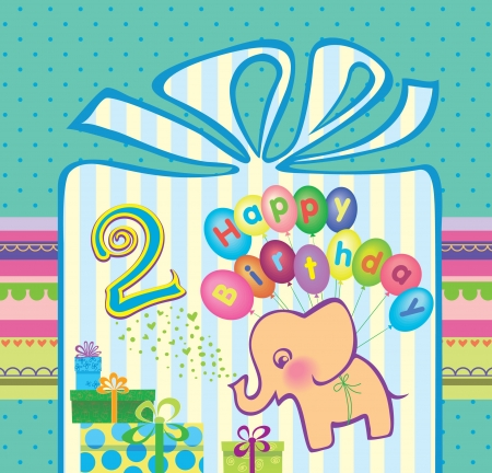 Congratulations for a boy with a 2 year anniversary  Elephant flying hot air balloons  Vector