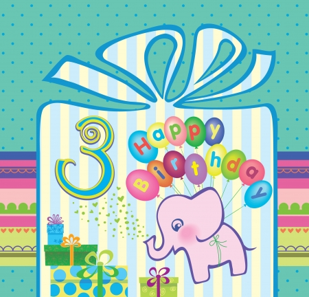 Congratulations for a boy with a 3 year anniversary  Elephant flying hot air balloons  Vector