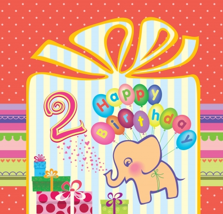 two year: Congratulations to the girls with 2 birthday  Elephant flying hot air balloons