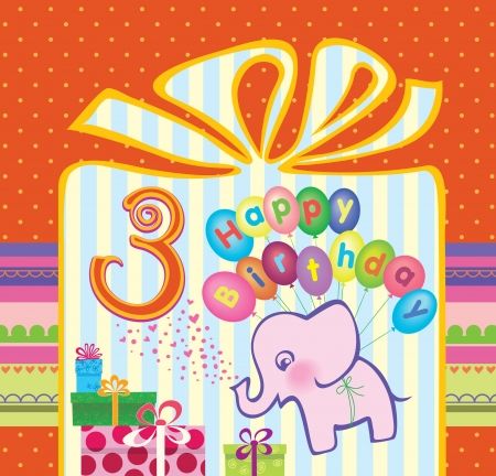 Congratulations to the girls with a 3 year anniversary  Elephant flying hot air balloons  Vector