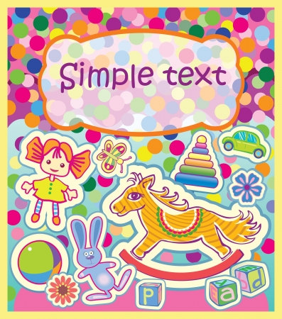 A colorful greeting card with childrens toys. The background of multicolored confetti.