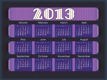 intentions: Calendar for 2013  purple stripes inserted into the perforation on the black paper  Week starts on Sunday