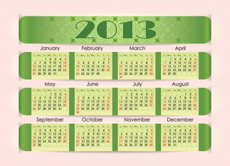 perforation: Calendar for 2013  The green strip inserted into the perforation on pink paper  Week starts on Sunday