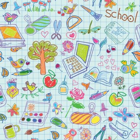 arbol de la sabiduria: De fondo de vacaciones escolares un conjunto de elementos para el estudio y la recreaci�n Seamless vector