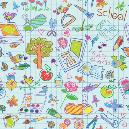 School holiday background  A set of items for study and recreation  Seamless vector