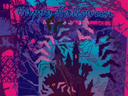 coven: poster on the theme of Halloween  The castle of vampires among the old trees and bats