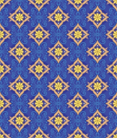 The pattern of golden diamonds on a dark blue background  Illustration