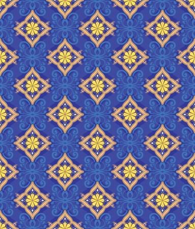 The pattern of golden diamonds on a dark blue background  Illustration