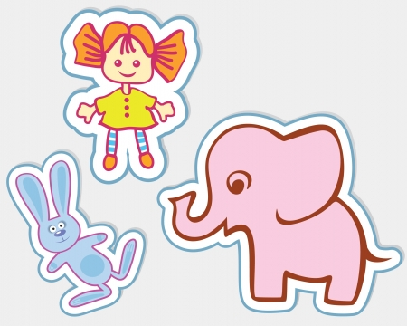 plush: Fun toys in the form of stickers  Red-haired doll, a pink elephant and the hare  Illustration