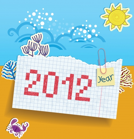 Torn exercise book in the box with a painted date  2012   Sheets of paper fastened by a clip  Applique on a summer theme