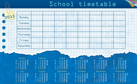 school schedule: Calendar for 2013  Week starts on Monday  Leaf in the cage for the school schedule  School timetable Illustration