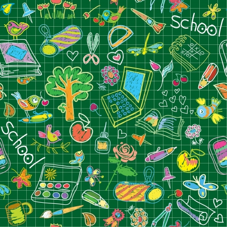 A set of school subjects for training and recreation  Seamless vector background