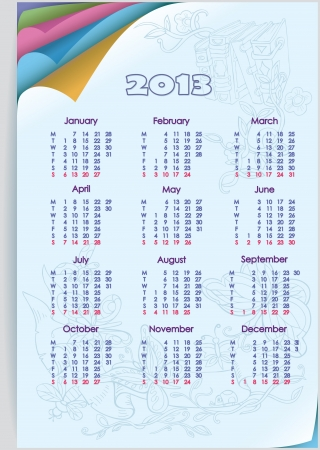 Calendar 2013  Week starts on Monday  Orientation days vertically  Figure butterflies, flowers and books  Colored paper twisted at an angle  Vector