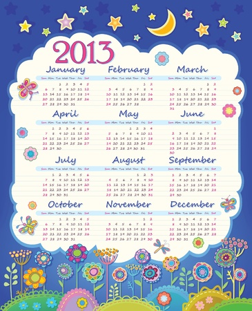 Calendar for 2013  Cloud in the night sky  Children applique flowers  Week starts on Sunday