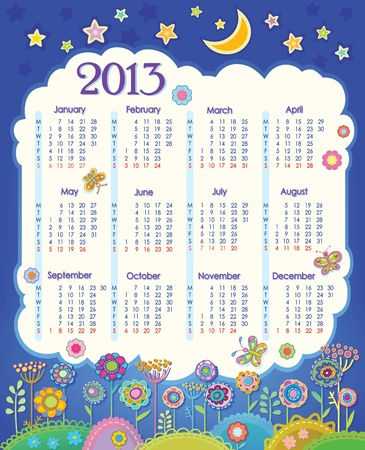 Calendar for 2013  Cloud in the night sky  Children applique flowers  Week starts on Monday
