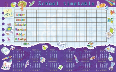 Calendar for 2013. Week starts on Monday. Sheet in a cage for school schedule. Schedule. Stickers on the school theme