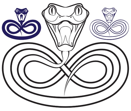 snake year: Symbol of the year - a snake. Open venomous jaws.
