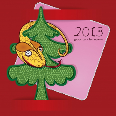 Merry snake hanging on a Christmas tree.  greeting card. baby design. Vector