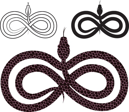 Options for  images snake. infinity sign. Иллюстрация