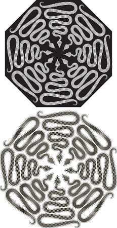 pattern of snakes  Black-and-white sign in form octahedral
