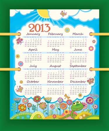 Calendar for 2013. The week starts with Sunday Vector