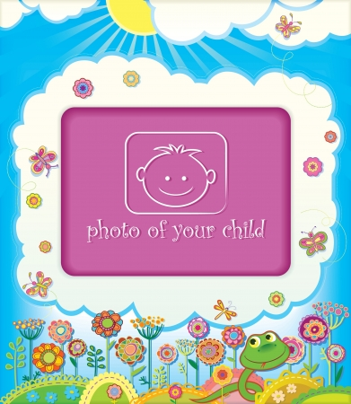 Frame for baby photo  Spring in the year of the Snake  Stock Vector - 16118943