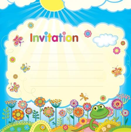 Card - invitation  Illustration in a children Vector