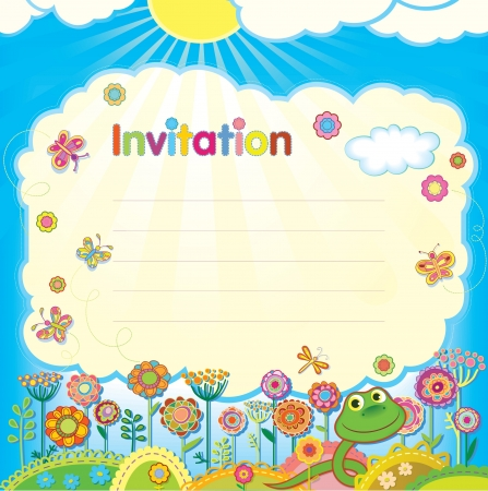 new year s day: Card - invitation  Illustration in a children