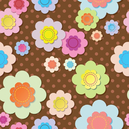 Seamless textile flowers on brown polka dot fabric  Illustration