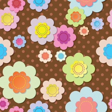 applique flower: Seamless textile flowers on brown polka dot fabric  Illustration