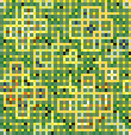 green carpet: Green decoration of squares and rectangles. Seamless mosaic of butterflies and beetles.