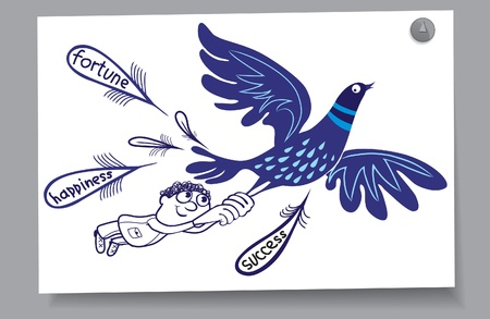 Learning Card - Bird of Happiness blue  Man wants to hold on to your luck Illustration