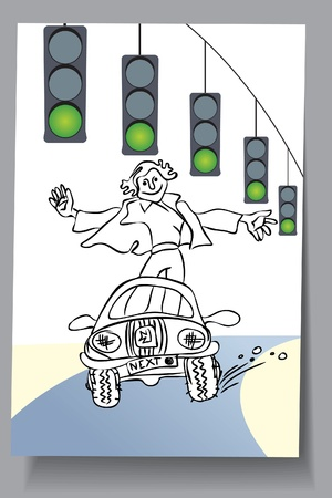 Learning Card - car everywhere is green  traffic light Stock Vector - 16583419