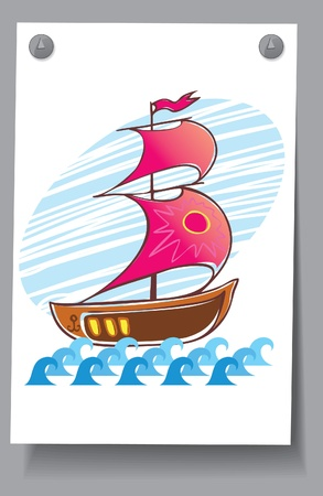 Learning Card - Red Sails  One-mast sailing ship on the waves Stock Vector - 16583415