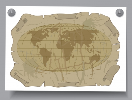 Learning Card - World map on old sheet of paper Stock Vector - 16583427