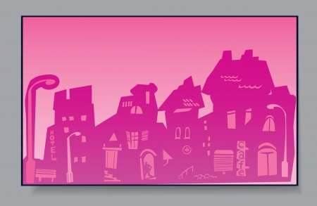 Of a card - a city in pink Stock Vector - 16583414