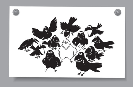 Of a card - a flock of birds  A white crow among the black Stock Vector - 16583418