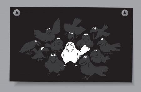 Of a card - a flock of birds  A white crow among the gray crow on a black background Stock Vector - 16583417