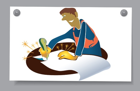Of a card - a man with  golden hands   The worker cuts a piece of paper  Stock Vector - 16583416