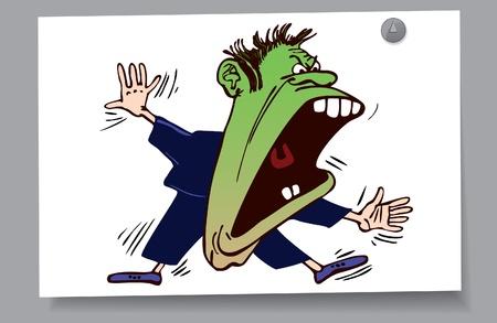 caricaturas de personas: De una tarjeta - el hombre se puso verde de rabia Vectores